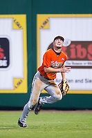 Auburn Tigers outfielder Hunter Kelley #2 tracks a fly ball against the LSU Tigers in the NCAA baseball game on March 23, 2013 at Alex Box Stadium in Baton Rouge, Louisiana. LSU defeated Auburn 5-1. (Andrew Woolley/Four Seam Images).