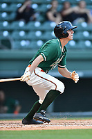 Center fielder Corey Bird (18) of the Greensboro Grasshoppers bats in a game against the Greenville Drive on Tuesday, April 25, 2017, at Fluor Field at the West End in Greenville, South Carolina. Greenville won, 5-1. (Tom Priddy/Four Seam Images)