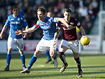 Hearts v St Johnstone…19.03.16  Tynecastle, Edinburgh<br />Jamie Walker and Chris Millar<br />Picture by Graeme Hart.<br />Copyright Perthshire Picture Agency<br />Tel: 01738 623350  Mobile: 07990 594431