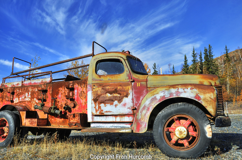 Derelict vintage truck at the old Giant Yellowknife Minesite. Mining