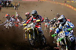 Riders start on the course at the Unadilla Valley Sports Center in New Berlin, New York on July 16, 2006, during the AMA Toyota Motocross Championship.