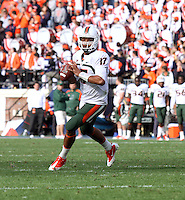 Oct 30, 2010; Charlottesville, VA, USA;   Miami Hurricanes quarterback Stephen Morris (17) throws the ball during the game against the Virginia Cavaliers at Scott Stadium. Virginia won 24-19. Mandatory Credit: Andrew Shurtleff