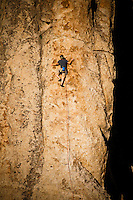 """Rock climbing in the golden light of sunset at The City of Rocks, Idaho.  Route is named """"Delay of Game""""  rated 5.8"""