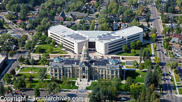 aerial photograph state capitol building, Cheyenne, Wyoming
