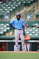 Tampa Bay Rays Luis Rengifo (54) at bat during an Instructional League game against the Baltimore Orioles on October 2, 2017 at Ed Smith Stadium in Sarasota, Florida.  (Mike Janes/Four Seam Images)
