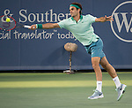 Roger Federer (Sui) battles Andy Murray (GBR) in the first set at the Western & Southern Open in Mason, OH on August 15, 2014.