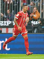 Jerome BOATENG (FCB 17) celebration 2-2 celebration, celebration, celebrates, Freude, , Feiern, Lachen, celebrates, freuen,  reisst die Arme hoch, ballt die Faust  <br /> FC BAYERN MUENCHEN - TSG 1899 HOFFENHEIM  5-2<br /> Football 1. Bundesliga , Muenchen,27.01.2018, 20. match day,  2017/2018, <br />  *** Local Caption *** © pixathlon<br /> Contact: +49-40-22 63 02 60 , info@pixathlon.de<br /> Contact: +49-40-22 63 02 60 , info@pixathlon.de