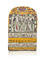 "Ancient Egyptian stele dedicated to Osiris by Neskhonsu,  Late Period, 25th Dynasty, (722-664 BC), Thebes, Cat 1596. Egyptian Museum, Turin. white background, <br /> <br /> The round topped stele dedicated by Osiris to Neskhonsu, daaughter of Nespernebu, ""gogs father"" of Amon. Gifted by the Cairo Museum"
