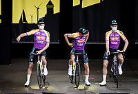 Mathieu Van der Poel (NED/Alpecin-Fenix) at the eve of his very first Tour de France at the pre Tour teams presentation of the 108th Tour de France 2021 in Brest at Le Grand Départ <br /> <br /> For the occasion the team kit has been changed into an hommage to Mathieu's grandfather Raymond Poulidor <br /> <br /> ©kramon