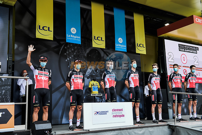 Lotto-Soudal at the Team Presentation before the start of Stage 1 of Criterium du Dauphine 2020, running 218.5km from Clermont-Ferrand to Saint-Christo-en-Jarez, France. 12th August 2020.<br /> Picture: ASO/Alex Broadway | Cyclefile<br /> All photos usage must carry mandatory copyright credit (© Cyclefile | ASO/Alex Broadway)