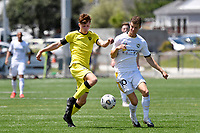 Adam Hillis of the Wellington Phoenix competes for the ball with Reid Drake of Eastern Suburbs during the ISPS Handa Men's Premiership - Wellington Phoenix v Eastern Suburbs at Fraser Park, Wellington on Saturday 28 November 2020.<br /> Copyright photo: Masanori Udagawa /  www.photosport.nz