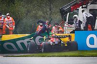29th August 2021; Spa Francorchamps, Stavelot, Belgium: FIA F1 Grand Prix of Belgium,  race day: PEREZ Sergio (mex), Red Bull Racing Honda RB16B, action crash, accident, during the Formula 1 Belgium Grand Prix,