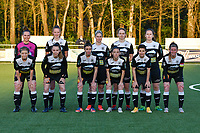 (back row left to right) Goalkeeper Silke Baccarne (1) of Eendracht Aalst, Loes Van Mullem (33) of Eendracht Aalst, Stephanie Van Gils (27) of Eendracht Aalst, Tiana Andries (11) of Eendracht Aalst , Valentine Hannecart (8) of Eendracht Aalst  (front row left to right) Wilhelmina Pellens (41) of Eendracht Aalst, Tiffanie Vanderdonckt (5) of Eendracht Aalst, Justine Blave (22) of Eendracht Aalst, Anke Vanhooren (7) of Eendracht Aalst, Megane Lerinckx (13) of Eendracht Aalst  and Chloe Van Mingeroet (17) of Eendracht Aalst pose for the team photo before during a female soccer game between  Racing Genk Ladies and Eendracht Aalst on the 5 th matchday of play off 2 in the 2020 - 2021 season of Belgian Scooore Womens Super League , friday 7 th of May 2021  in Genk , Belgium . PHOTO SPORTPIX.BE | SPP | JILL DELSAUX