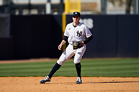 New York Yankees shortstop Kyle Holder (76) during a Spring Training game against the Toronto Blue Jays on February 22, 2020 at the George M. Steinbrenner Field in Tampa, Florida.  (Mike Janes/Four Seam Images)