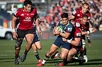 Josh Ioane is tackled during the 2020 Super Rugby match between the Crusaders and Highlanders at Orangetheory Stadium in Christchurch, New Zealand on Saturday, 9 August 2020. Photo: Joe Johnson / lintottphoto.co.nz