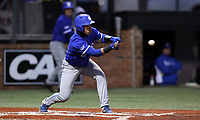 ELON, NC - FEBRUARY 28: Diego Gines #11 of Indiana State University bunts the ball during a game between Indiana State and Elon at Walter C. Latham Park on February 28, 2020 in Elon, North Carolina.