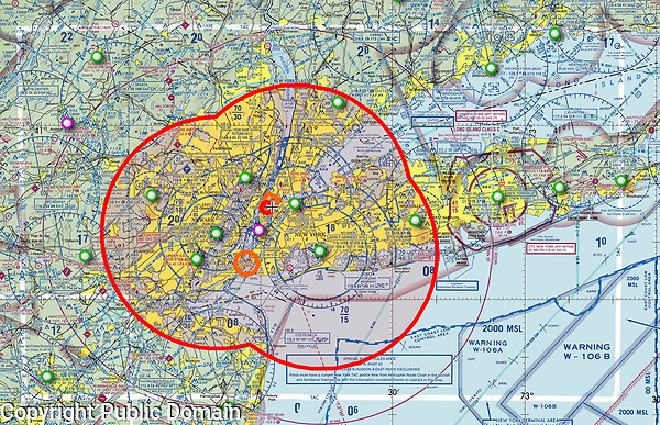This NOAA FAA aviation sectional chart shows the extents of the Presidential Temporary Flight Restriction over New York City during a visit to New York City during the 2019 New York City Marathon