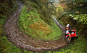 06/10/18<br /> <br /> Simon & Debbie Eddy, Honda XR.<br /> <br /> After battling hours of heavy rain, competitors slither up a hill known as the corkscrew in near Kettleshulme in the Cheshire Peak District National Park. Hundreds of other cars and motorcycles took part in today's Edinburgh Trial. The Motorcyling Club's 94th annual long distance navigation trial started near Tamworth at midnight and finishes this afternoon near Buxton. The original trial ran from London to Edinburgh.<br /> <br /> All Rights Reserved: F Stop Press Ltd. +44(0)1335 344240  www.fstoppress.com www.rkpphotography.co.uk