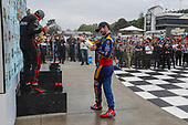 Alexander Rossi, Andretti Autosport Honda celebrates on the podium with champagne