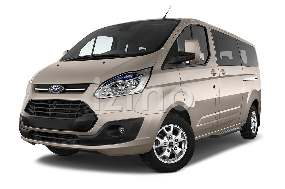 Stock pictures of low aggressive front three quarter view of a 2013 Ford TOURNEO CUSTOM TITANIUM 5 Door Combi Low Aggressive