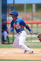 GCL Mets second baseman Miguel Patino (93) at bat during a game against the GCL Marlins on August 12, 2016 at St. Lucie Sports Complex in St. Lucie, Florida.  GCL Marlins defeated GCL Mets 8-1.  (Mike Janes/Four Seam Images)