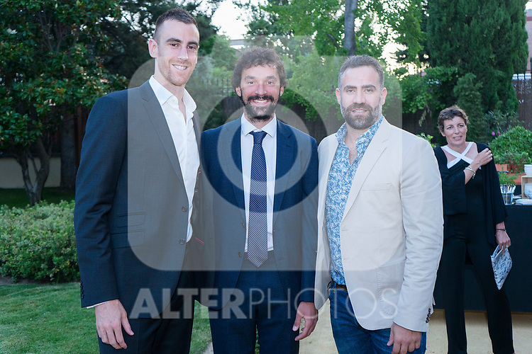 Players Victor Claver (l) , Sergio Llull and former player Carlos Cabezas (r) during the first edition of Spanish Basketball Awards. July 25, 2019. (ALTERPHOTOS/Francis Gonzalez)