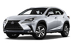 Stock pictures of low aggressive front three quarter view of 2020 Lexus NX 300h 5 Door SUV Low Aggressive