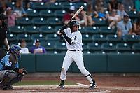 Lenyn Sosa (25) of the Winston-Salem Dash at bat against the Hickory Crawdads at Truist Stadium on July 10, 2021 in Winston-Salem, North Carolina. (Brian Westerholt/Four Seam Images)