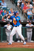Buffalo Bisons catcher Danny Jansen (41) at bat during a game against the Gwinnett Braves on August 19, 2017 at Coca-Cola Field in Buffalo, New York.  The Bisons wore special Superhero jerseys for Superhero Night.  Gwinnett defeated Buffalo 1-0.  (Mike Janes/Four Seam Images)