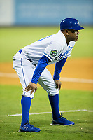 Burlington Royals manager Omar Ramirez (33) coaches third base during the game against the Danville Braves at Burlington Athletic Stadium on August 15, 2017 in Burlington, North Carolina.  The Royals defeated the Braves 6-2.  (Brian Westerholt/Four Seam Images)