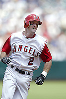 Adam Kennedy of the Los Angeles Angels runs the bases during a 2002 MLB season game at Angel Stadium, in Anaheim, California. (Larry Goren/Four Seam Images)