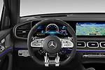 Car pictures of steering wheel view of a 2021 Mercedes Benz GLE AMG-63-S 5 Door SUV Steering Wheel