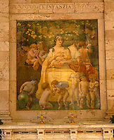 On the wall of the Gallaria delle Bibite a tiled mural illustrates the health benefits of the thermal water for children