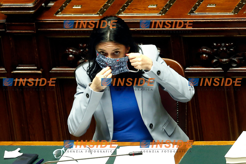 The Minister of Instruction Lucia Azzolina wearing a face mask with the written I love my students, during the information at the Chamber of Deputies, about the measures to contrast the Covid-19 pandemic at the reopening of the schools on September 14th.<br /> Rome (Italy), September 9th 2020