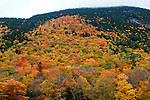 Crawford Notch Observation area in the White Mountains National Forest of New Hampshire during peak fall foliage colors.