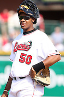 June 15th 2008:  Catcher Kenley Jansen of the Great Lakes Loons, Class-affiliate of the Los Angeles Dodgers, during a game at Dow Diamond in Midland, MI.  Photo by:  Mike Janes/Four Seam Images