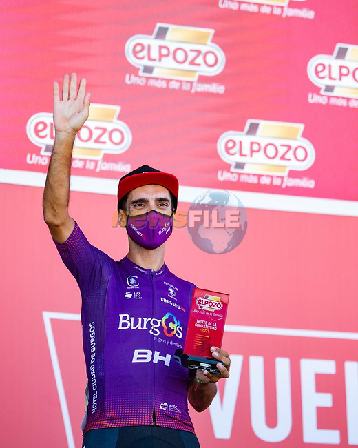 Daniel Navarro (ESP) Burgos-BH most aggressive rider from yesterday's stage at sign on before the start of Stage 15 of La Vuelta d'Espana 2021, running 197.5km from Navalmoral de la Mata to El Barraco, Spain. 29th August 2021.     <br /> Picture: Cxcling | Cyclefile<br /> <br /> All photos usage must carry mandatory copyright credit (© Cyclefile | Cxcling)