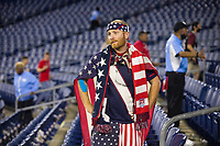 NASHVILLE, TN - SEPTEMBER 5: A USA Fans looks on after a game between Canada and USMNT at Nissan Stadium on September 5, 2021 in Nashville, Tennessee.