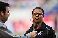 Sky Blue FC goalkeeper Brittany Cameron (1) is interviewed prior to the start of the match. The women's national team of the United States defeated the Korea Republic 5-0 during an international friendly at Red Bull Arena in Harrison, NJ, on June 20, 2013.