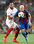 FC Barcelona's Leo Messi (r) and Sevilla FC's Gabriel Mercado during Supercup of Spain 2nd match.August 17,2016. (ALTERPHOTOS/Acero)