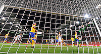 Abby Wambach of team USA scores 1:2 against goalkeeper Hedvig Lindahl of team Sweden during the FIFA Women's World Cup at the FIFA Stadium in Wolfsburg, Germany on July 6thd, 2011.