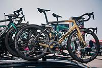 Peter Sagan's (SVK/Bora-Hansgrohe) (golden) spare bike ready on the teamcar roofrack<br /> <br /> Stage 6: Brest > Mûr de Bretagne / Guerlédan (181km)<br /> <br /> 105th Tour de France 2018<br /> ©kramon