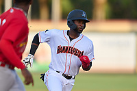 Jupiter Hammerheads Diowill Burgos (15) running the bases during a game against the Palm Beach Cardinals on May 11, 2021 at Roger Dean Chevrolet Stadium in Jupiter, Florida.  (Mike Janes/Four Seam Images)