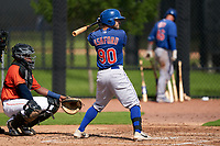 GCL Mets Zach Ashford (90) at bat during a Gulf Coast League game against the GCL Astros on August 10, 2019 at FITTEAM Ballpark of the Palm Beaches Training Complex in Palm Beach, Florida.  GCL Astros defeated the GCL Mets 8-6.  (Mike Janes/Four Seam Images)