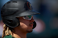 Great Lakes Loons Niko Hulsizer (40) on deck during a Midwest League game against the Wisconsin Timber Rattlers at Dow Diamond on May 4, 2019 in Midland, Michigan. Great Lakes defeated Wisconsin 5-1. (Zachary Lucy/Four Seam Images)