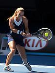 Dominika Cibulkova (svk) defeats Agnieszka Radwanska (POL) 6-1, 6-2 at the Australian Open in Melbourne Australia on January 23, 2014.