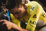 Race leader Mathieu Van Der Poel (NED) Alpecin-Fenix is measured up for his Yellow Jersey skinsuit by the seamstress' of Le Coq Sportif at the end of Stage 4 of the 2021 Tour de France, running 150.4km from Redon to Fougeres, France. 29th June 2021.  <br /> Picture: A.S.O./Pauline Ballet   Cyclefile<br /> <br /> All photos usage must carry mandatory copyright credit (© Cyclefile   A.S.O./Pauline Ballet)