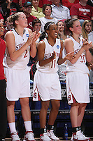 22 March 2008: Jayne Appel, Candice Wiggins, and Jillian Harmon during Stanford's 85-47 win over Cleveland State during the first round of the NCAA Women's Basketball first round game at Maples Pavilion in Stanford, CA.