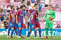 29th August 2021; Nou Camp, Barcelona, Spain; La Liga football league, FC Barcelona versus Getafe; Gavi and Sergio Busquets of FC Barcelona