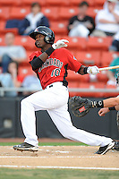 Hickory Crawdads Jurickson Profar #10 hits a first inning homerun during a game vs. the Hickory Crawdads at L.P. Franz Stadium in Hickory,  North Carolina;  April 7, 2011.  Hickory defeated Asheville 4-2.  Photo By Tony Farlow/Four Seam Images